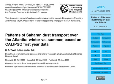 Patterns of Saharan Dust Transport Over ... by Ben-ami, Y.