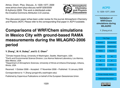 Comparisons of Wrf/Chem Simulations in M... by Zhang, Y.
