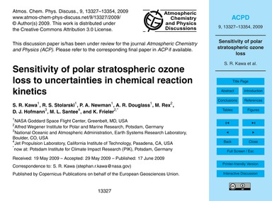 Sensitivity of Polar Stratospheric Ozone... by Kawa, S. R.