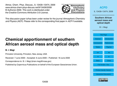 Chemical Apportionment of Southern Afric... by Magi, B. I.