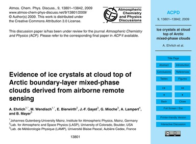 Evidence of Ice Crystals at Cloud Top of... by Ehrlich, A.