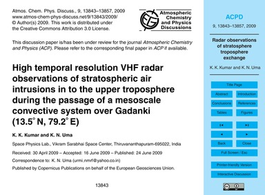 High Temporal Resolution Vhf Radar Obser... by Kumar, K. K.