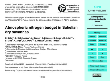 Atmospheric Nitrogen Budget in Sahelian ... by Delon, C.