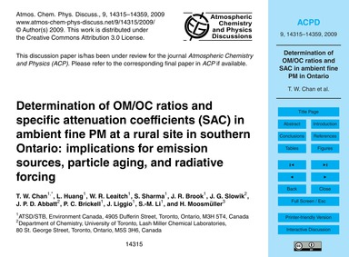 Determination of Om/Oc Ratios and Specif... by Chan, T. W.