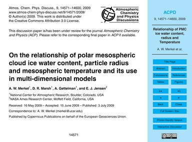 On the Relationship of Polar Mesospheric... by Merkel, A. W.