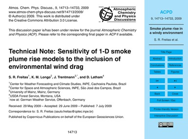 Technical Note: Sensitivity of 1-d Smoke... by Freitas, S. R.