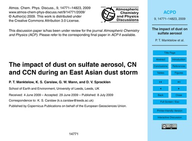 The Impact of Dust on Sulfate Aerosol, C... by Manktelow, P. T.