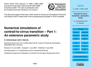 Numerical Simulations of Contrail-to-cir... by Unterstrasser, S.
