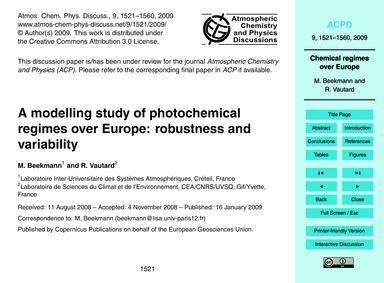 A Modelling Study of Photochemical Regim... by Beekmann, M.