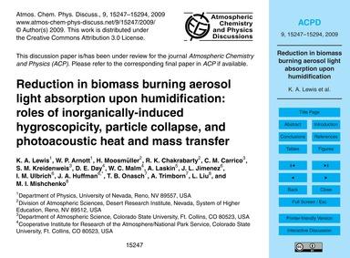 Reduction in Biomass Burning Aerosol Lig... by Lewis, K. A.