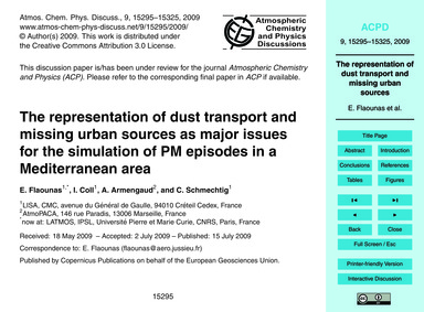 The Representation of Dust Transport and... by Flaounas, E.