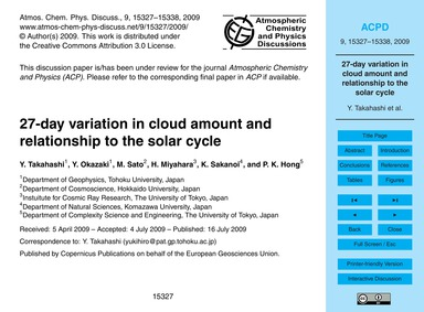 27-day Variation in Cloud Amount and Rel... by Takahashi, Y.
