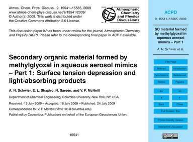 Secondary Organic Material Formed by Met... by Schwier, A. N.