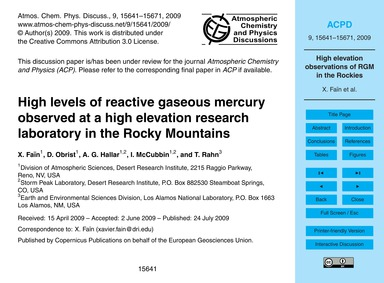 High Levels of Reactive Gaseous Mercury ... by Faïn, X.