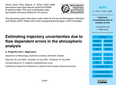 Estimating Trajectory Uncertainties Due ... by Engström, A.