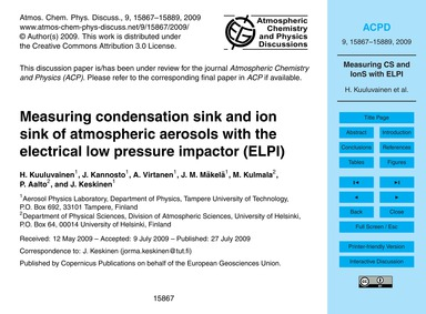 Measuring Condensation Sink and Ion Sink... by Kuuluvainen, H.