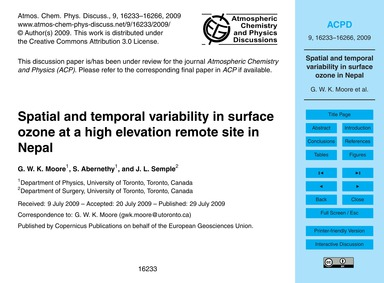 Spatial and Temporal Variability in Surf... by Moore, G. W. K.