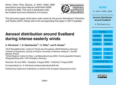 Aerosol Distribution Around Svalbard Dur... by Dörnbrack, A.
