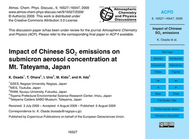 Impact of Chinese So2 Emissions on Submi... by Osada, K.