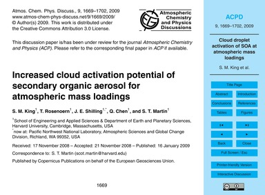 Increased Cloud Activation Potential of ... by King, S. M.