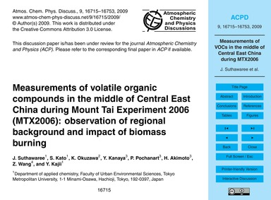 Measurements of Volatile Organic Compoun... by Suthawaree, J.