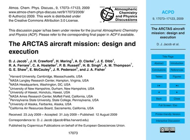 The Arctas Aircraft Mission: Design and ... by Jacob, D. J.