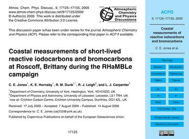Coastal Measurements of Short-lived Reac... by Jones, C. E.