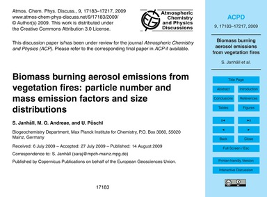 Biomass Burning Aerosol Emissions from V... by Janhäll, S.
