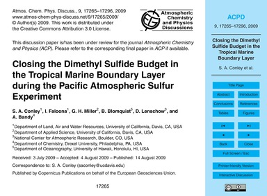 Closing the Dimethyl Sulfide Budget in t... by Conley, S. A.