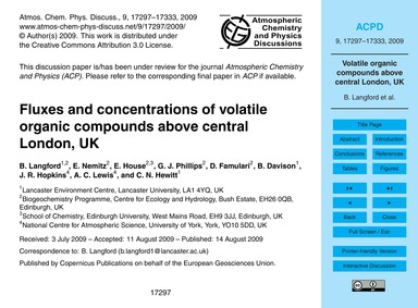 Fluxes and Concentrations of Volatile Or... by Langford, B.