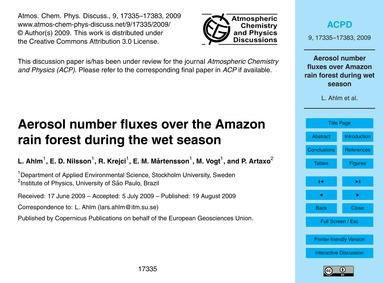 Aerosol Number Fluxes Over the Amazon Ra... by Ahlm, L.