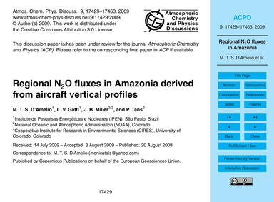 Regional N2O Fluxes in Amazonia Derived ... by D'Amelio, M. T. S.