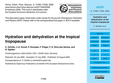 Hydration and Dehydration at the Tropica... by Schiller, C.