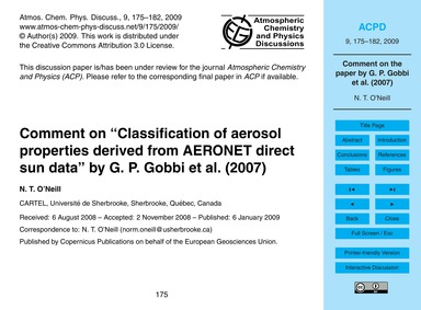 Comment on Classification of Aerosol Pro... by O'Neill, N. T.