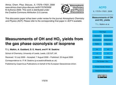 Measurements of Oh and Ho2 Yields from t... by Malkin, T. L.