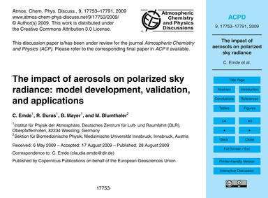 The Impact of Aerosols on Polarized Sky ... by Emde, C.