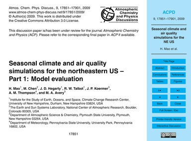 Seasonal Climate and Air Quality Simulat... by Mao, H.