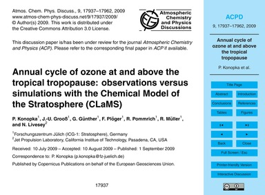 Annual Cycle of Ozone at and Above the T... by Konopka, P.