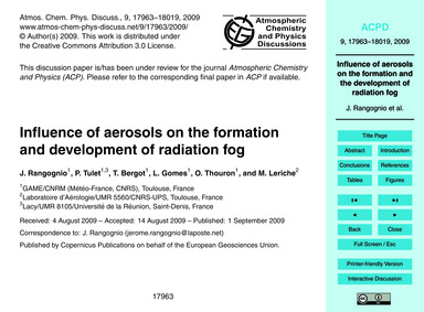 Influence of Aerosols on the Formation a... by Rangognio, J.