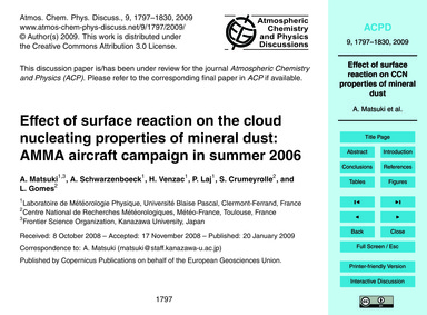 Effect of Surface Reaction on the Cloud ... by Matsuki, A.