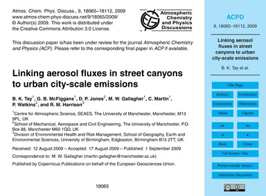 Linking Aerosol Fluxes in Street Canyons... by Tay, B. K.
