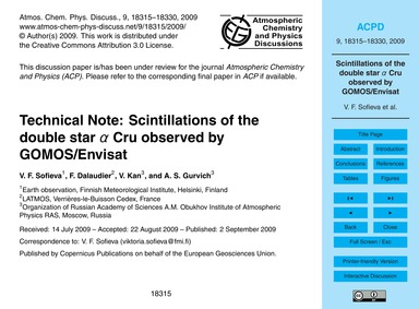 Technical Note: Scintillations of the Do... by Sofieva, V. F.