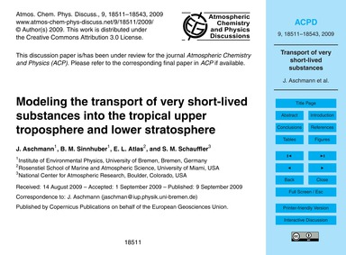 Modeling the Transport of Very Short-liv... by Aschmann, J.