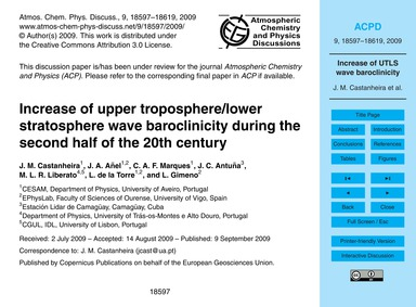 Increase of Upper Troposphere/Lower Stra... by Castanheira, J. M.