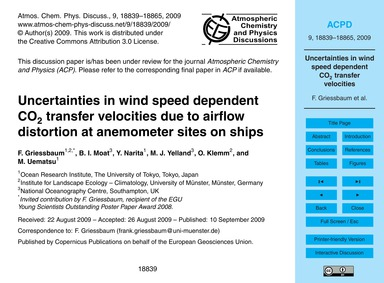 Uncertainties in Wind Speed Dependent Co... by Griessbaum, F.