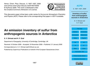 An Emission Inventory of Sulfur from Ant... by Shirsat, S. V.