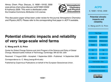Potential Climatic Impacts and Reliabili... by Wang, C.