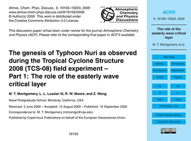 The Genesis of Typhoon Nuri as Observed ... by Montgomery, M. T.