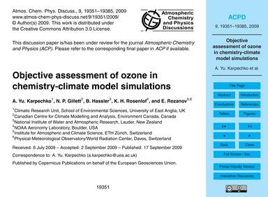 Objective Assessment of Ozone in Chemist... by Karpechko, A. Yu.