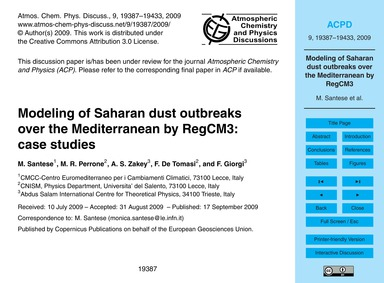 Modeling of Saharan Dust Outbreaks Over ... by Santese, M.